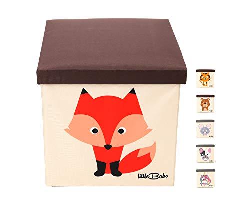 little Babo Kinder Aufbewahrungsbox I Spielzeugkiste mit Deckel für Kinderzimmer I Spielzeug Box (33x33x33) zur Aufbewahrung im Kallax Regal I faltbar, groß und stabil zum sitzen – Tiermotiv Fuchs