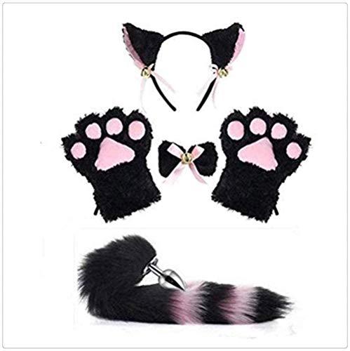 Disfraz de Cosplay con orejas de gato/zorro, diadema de cola de felpa corta para nia, conjunto de entrenamiento gtico de anime Lolita con patas de gato (negro y rosa)