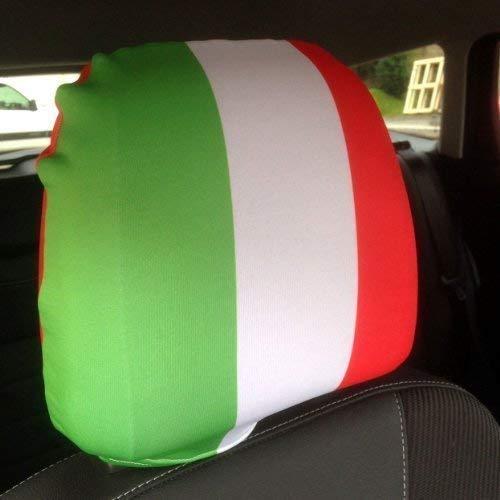 LundS PRINTS FOAM DESIGNS Autositz-Kopfstützenbezüge, Messing, Weltmeisterschaft Brasilien 2014, Italienische Flagge, hergestellt in Yorkshire, 2 Stück
