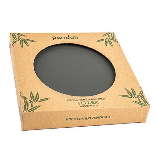 pandoo Bambus Teller 6er-Set - BPA-frei & lebensmittelecht | Picknick & Camping Geschirr | für den täglichen Gebrauch, spülmaschinenfest und stapelbar