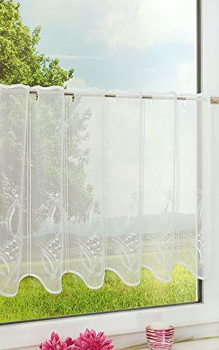 Plauener Spitze Scheibengardine Hula (Bx H) 64.40cm * 50cm Beige/weiß-beige