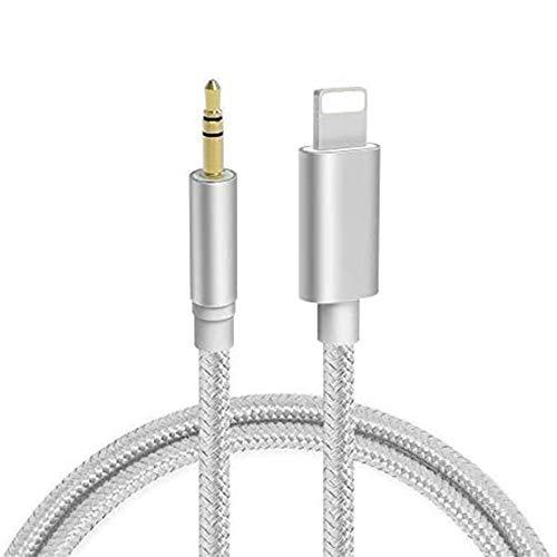 Cable Auxiliar para iPhone 11 Cable Auxiliar para Auto a Jack Adaptador de 3.5mm para iPhone 7Plus/8/X/XS/XR/11 a Radio de Coche/Adaptador de Altavoz/Auriculares Compatible con Todos los iOS-Plata
