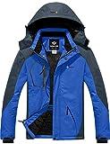 GEMYSE Chaqueta de esquí Impermeable de montaña para Hombre Abrigo de Invierno al Aire Libre de Lana a Prueba de Viento con Capucha (Gris Azul,2XL)