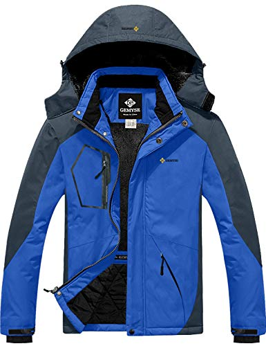 GEMYSE Men's Mountain Waterproof Ski Snow Jacket Winter Windproof Rain Jacket (Sky Blue,Medium)