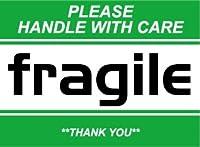 SK-058 FRAGILE 荷造りステッカー大 スーツケースや機材ケースに! (GREEN)