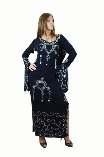 Egypt Bazar Traditionelles Saidi Stocktanzkleid/Bauchtanzkleid aus Stretchlycra, Free Size (S bis XL), Farbe Nachtblau