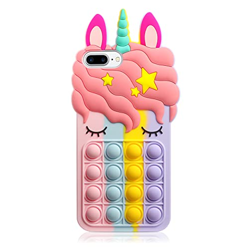 HoneyAKE Fidget Toys Phone Case for iPhone 8 Plus Case iPhone 7 Plus Case Bubble Protect Soft Silicone Shockproof Stress Reliever Pop Phone Cover Women Girls for iPhone 6s Plus 7 Plus 8 Plus, Rainbow