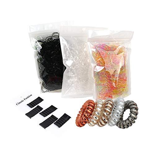 2000 unidades de gomas para el pelo, mini gomas elásticas para el pelo + 5 unidades de cables de teléfono Crystal Clear + 50 unidades de horquillas de metal en forma de onda negra