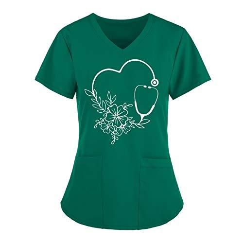Routinfly Camisetas de verano para mujer, camisetas de manga corta, cuello en V, uniformes de trabajo, monocolor