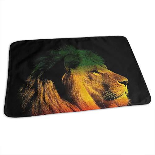 Matelas à langer portable imperméable et réutilisable pour changer de couche - Design unisexe pour filles et garçons - Rasta Lion King of Jamaïque Reggae #2