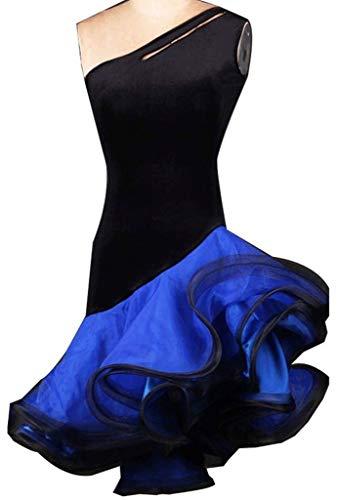 C&X Traje de Entrenamiento de Leotardo con Vestimenta Asimétrica de Rumba Y Samba para Bailarina, Vestimenta Profesional de Danza Latina, para Mujer.