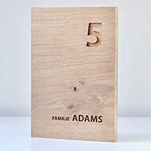 Haustürschild Holz (Eiche) mit individueller Gravur in verschiedenen Größen, Türschild Holz, Namensschild Holz…