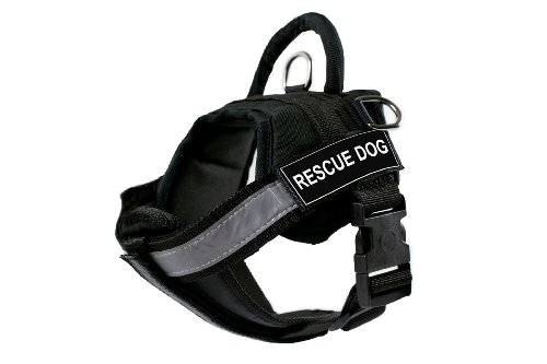 DT Works Hundegeschirr mit gepolsterten, reflektierenden Brustgurten, für Rettungshunde, schwarz, Größe S, passend für Körpergröße: 63,3 cm bis 86,4 cm