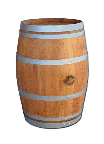 Temesso Stehtisch aus Weinfass, Dekofass, Gartentisch aus Holzfass - Fass geschliffen und geölt mit silbernen Ringen