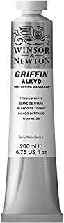 Winsor & Newton Griffin Alkyd Fast Drying Oil Color Tube, Titanium White, 200-ml Tube
