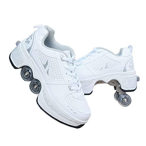 Roller Skate Roller Skates, 2in1 Mehrzweckschuhe Schuhe mit Rädern, Skateboarding-Schuhe, Unisex-Schuhe mit Rädern, Roller Erwachsene Skates, Outdoor Sport Technologie Skateboards, Weiß Skates, 37