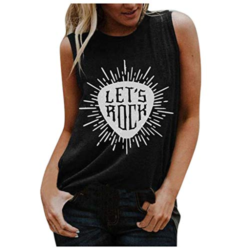Xinantime Womens Casual Sleeveless Blouse Tops Loose O-Neck Tees Graphic Letter Printing Tank Tops
