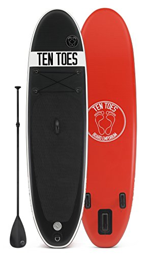 Ten Toes Board Emporium Weekender Inflatable Stand Up Paddle Board Bundle, Black/Red, Medium/10'