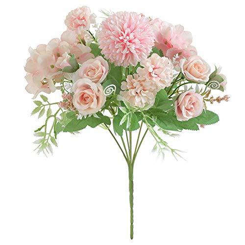 Bosixty Rose Künstliche Blumen, 7 Köpfe Hortensie Blumen, Gefälschte Rose Seide Hortensie Blumenstrauß Dekor Realistische Rose Blumenarrangements Hochzeitsdekoration Tischdekoration