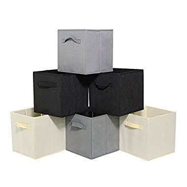 Storage Cubes with Double Handles Set of 6 Foldable Nonwoven Collapsible Storage Bins for Shelf Closet or Underbed Nonwoven Storage Bins for Clothes or Kids Toy Storage Unit