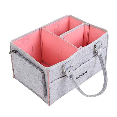 Smilikee Organizador de pañales para bebé, cesta de fieltro, organizador de pañales, bolsa de toallitas con compartimentos, cesta portátil, bolsas de viaje para mamá, gris y rosa