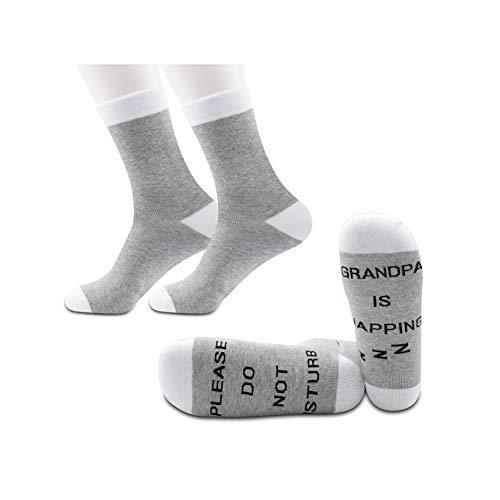 JXGZSO 2 Pairs Grandpa Napping Socks Papa Gift Mens Funny Socks Please Do Not Disturb Grandpa Is Napping Socks (Grandpa Is Napping Grey)