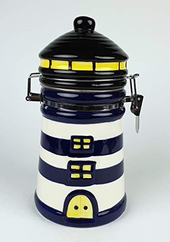 Buddel-Bini Versand Vorratsdose Leuchtturm blau weiß Keramik Kaffeedose Dose Vorratsbehälter