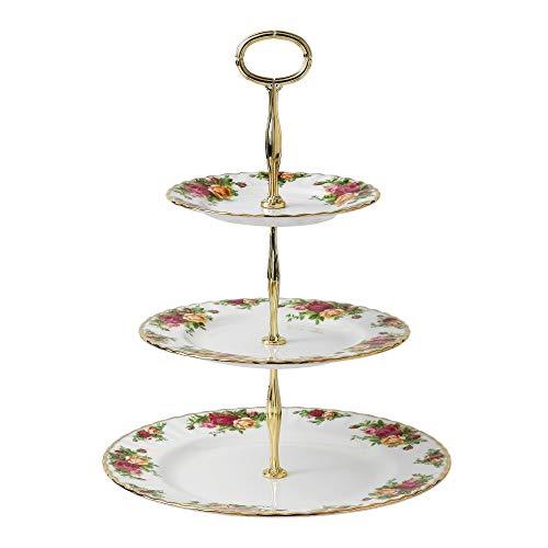 Royal Albert Old Country Roses Etagere/Kuchenständer, 3 Etagen, für Kuchen, mehrfarbig