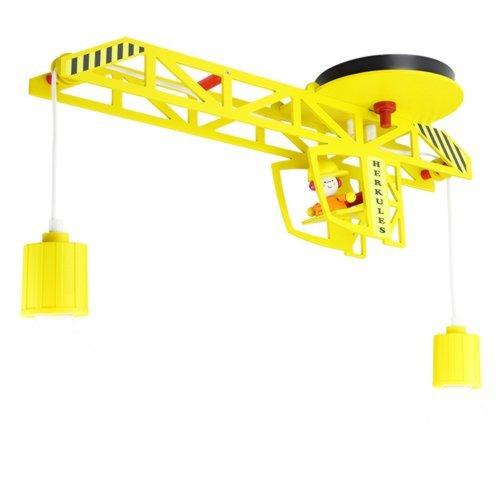 Elobra Kinderlampe Turmdrehkran aus Holz, E27 Deckenleuchte für Kinder, gelb, 60 x 20 x 50cm