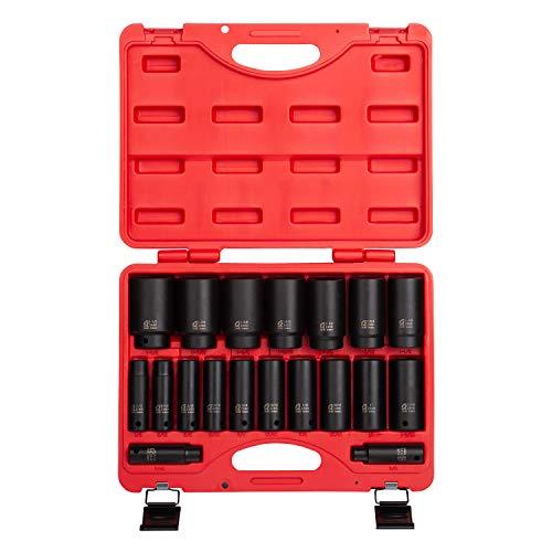 sunex socket wrenches drive socket sets Sunex 2641, 1/2 Inch Drive Deep Impact Socket Set, 19-Piece, SAE, 3/8