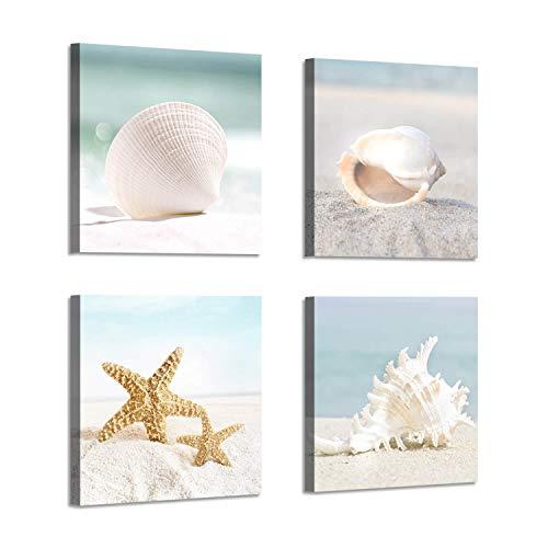 Starfish & Seashells Canvas Wall Art: Sandy Beach Seaside Graphic Artwork for Bathroom (12'W x 12'H x 4 PCS,Multi-Sized)