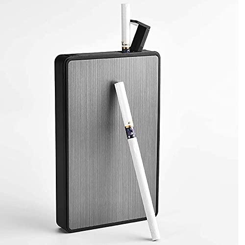 HHYHOME Caja De Cigarrillos 2 En 1,Caja De Cigarrillos con Encendedor,Portátil USB,Expulsa Automáticamente Los Cigarrillos,para 16 Cigarrillos Esbeltos,Mujeres,Plata