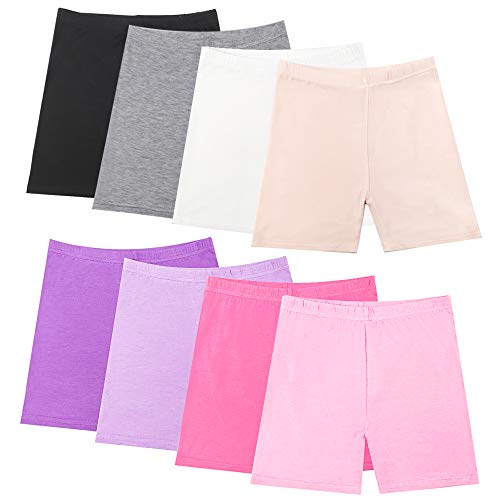 Hollhoff 8 Pack Girls Dance Shorts, Bike Shorts for Playgrounds and Gymnastics, Breathable and Safe Active Shorts
