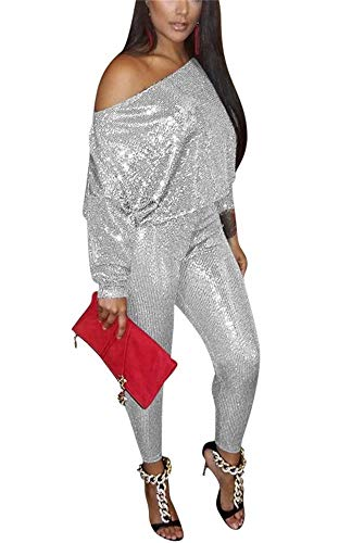LKOUS Womens Shiny Sequin 2 Pieces Outfits One Shoulder Long Sleeve Crop Tops and High Waist Long Pants Clubwear Silver