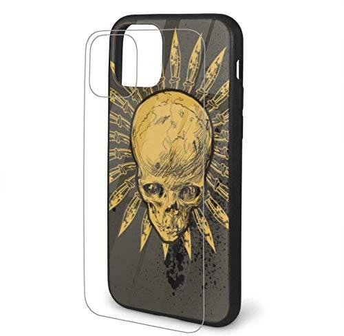 Einzigartige Skull Design Hüllen für iPhone 11 / Pro/Pro Max mit weicher und Flexibler TPU-Schutzhülle Transparente Glasabdeckung - Schädel und Messer und Spray-iphone11Pro-