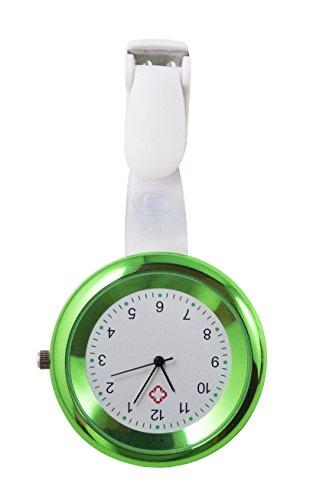 Ellemka - JCM-2103 NN H+ Krankenschwesternuhr Pflege | Taschenuhr Ansteckuhr Analog | Digitales Quarzwerk | Hängeband in ABS Kunststoff mit Clip | Hellgrün Green Light