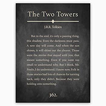 JRR Tolkien Quote   Tolkien Wall Art   Lord Of The Rings Quote - Two Towers Art Print Book Page Style - Literary Wall Decor Poster 12x16 inches