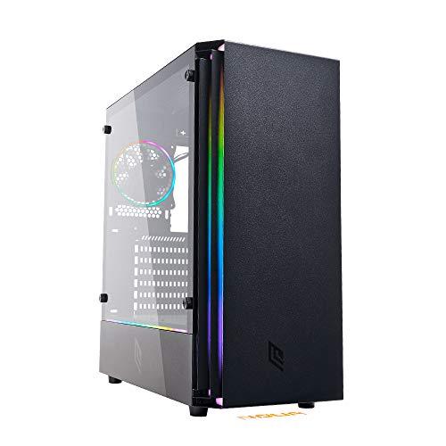 Noua Demon T5 Black Case ATX PC Gaming 0.60MM SPCC 3*USB3.0 2.0 con Ventola Dual Halo Slim RGB Addressable 5V 3pin 1*Strip ADD RGB e Logo Pannello Laterale in Vetro Temperato (AxPxL: 475x415x210 mm)