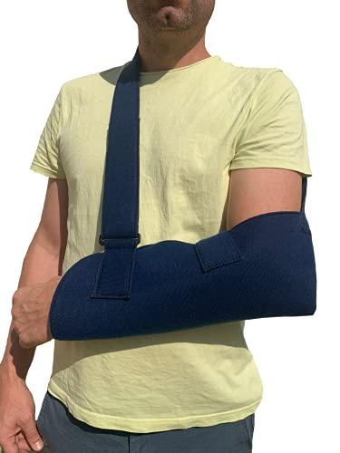 Cabestrillo de hombro, inmovilizador ajustable para hombro-codo talla universal, color azul (Sin cinta trasera)