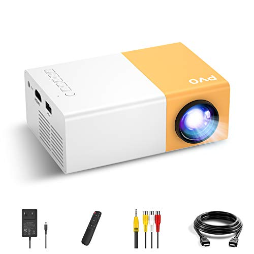 Mini Projector, PVO Portable Projector for Cartoon, Kids Gift, Outdoor Movie Projector, LED Pico Video Projector for Home Theater Movie Projector with HDMI USB TV AV Interfaces and Remote Control