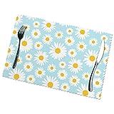 Tcerlcir Set di 6 Tovagliette Fiore Floreale della Margherita Bianca Blu Sveglia della Margherita Bianca Lavabile Antiscivolo Resistente al Calore per la Cucina e la tavola 45x30cm
