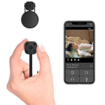 2021 FECOMI 2K Mini Spy Camera Hidden WiFi Cam Small Camera Live Feed WiFi Wireless Nanny Cam with Video Recording Upgrade Night Vision/Motion Detection Security Camera with Cell Phone App
