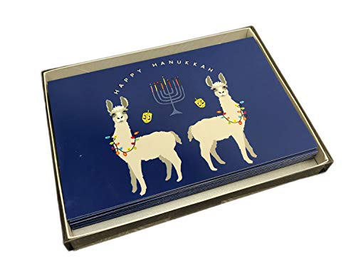 Happy Hanukkah Festive Jewish Llamas Box of 10 Chanukah Holiday Greeting Cards & Envelopes