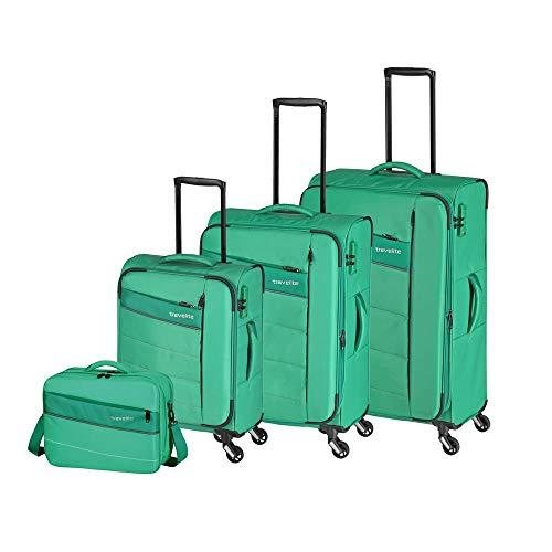 """Travelite Extrem leicht: """"KITE"""" – sportlich-klassische Trolleys, Trolley-Reisetaschen und Bordtaschen Koffer-Set, 75 cm, 198L, Grasgrün"""