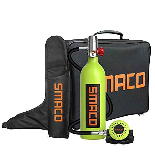 Scuba Tank Diving Cylinder Mini Scuba Tank Scuba Cylinder with 15-20 Minutes Capability Diving Oxygen Tank with Pump Breath Underwater Device(340 Breathe Times) S400 Dive Equipment Package B, Green