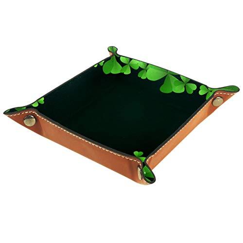 ZDL Caja de almacenamiento con diseño de trébol verde con hojas de San Patricio para llaves, teléfono, moneda, cartera, relojes, etc. 20.5 x 20.5 cm