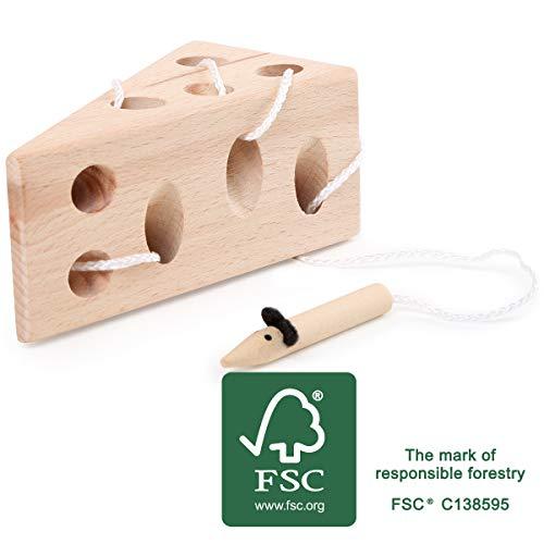 Small Foot 11053 Fädelspiel Käse und Maus aus Holz, FSC 100%-Zertifiziert Spielzeug, Mehrfarbig