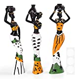 3pcs/Set African Woman Figurines, Resin Black Statue Creative Figurines, 7.5' Women Lady Figure Ornaments for Interior Modern Home Decoration