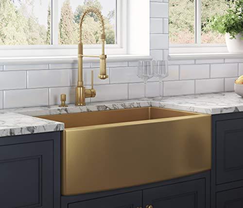 Ruvati Brass Tone 33-inch Apron-Front Farmhouse Kitchen Sink - Matte Gold Stainless Steel Single Bowl - RVH9733GG