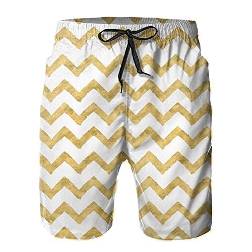 Yesliy Chevrongoldandwhite - Pantalones cortos para hombre, estilo casual, playa, secado rápido, para el hogar